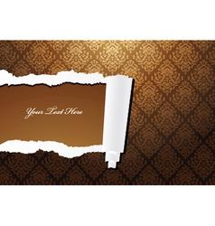 torn damask wallpaper vector image vector image