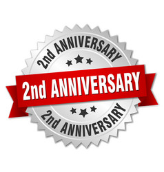 2nd anniversary round isolated silver badge vector