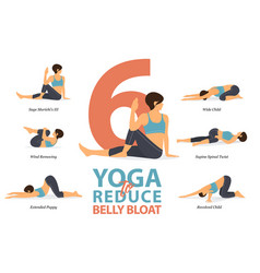 6 yoga poses for reduce belly bloat in flat design vector