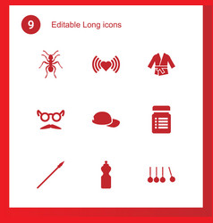 9 long icons vector