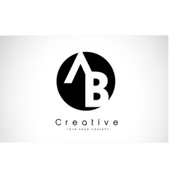 Ab letter logo design inside a black circle vector