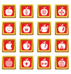 Apple logo icons set red square vector