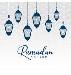 Arabic ramadan kareem design with hanging lamps vector