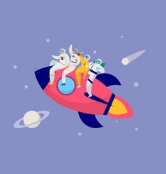 astronaut team travel rocket intergalactic space vector image