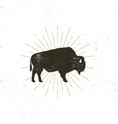 Bison icon silhouette Retro letterpress effect vector