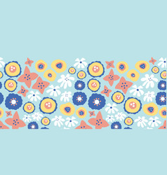 blue pink flowers seamless repeat border vector image