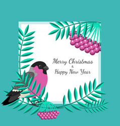 bullfinch and rowan branches card vector image