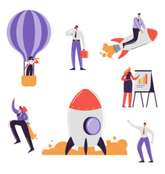 business characters collection businessman rocket vector image