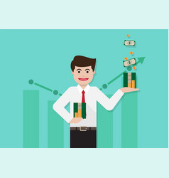 business man with money vector image