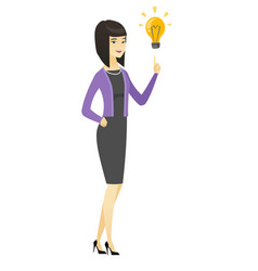 business woman pointing at business idea bulb vector image
