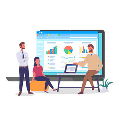 Businesspeople programmers coders analysing data vector