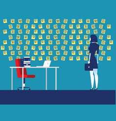 Businesswoman with wall full reminder notes vector