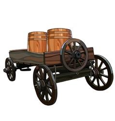 cart with wooden barrels vector image
