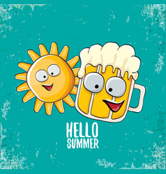 Cartoon funky beer glass character and vector