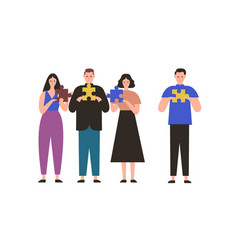 cartoon people holding jigsaw puzzle pieces vector image
