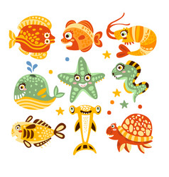 Cartoon underwater world with fish plants marine vector
