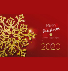 christmas and new year card glitter snowflake vector image