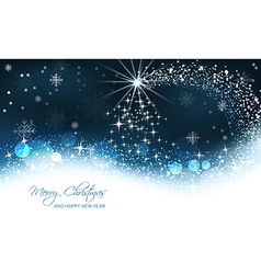 Christmas background christmas tree and snow wave vector image