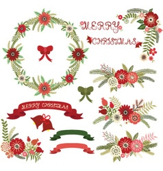 Christmas Floral Collections vector image