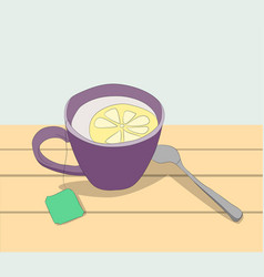 cup of tea with lemon on the table vector image