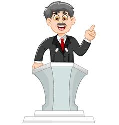 Cute cartoon politician speaking behind the podium vector