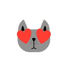 cute emoticon cat in love on transparent vector image