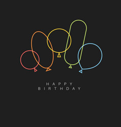 Dark happy birthday card with balloons vector