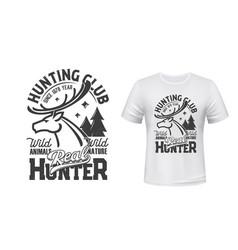 Deer t-shirt print mockup hunting club reindeer vector