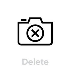 Delete camera icon editable outline vector