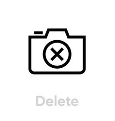 delete camera icon editable outline vector image