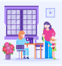 Doctor pediatrician visitors child with mother vector