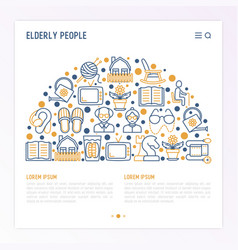 elderly people concept in half circle vector image