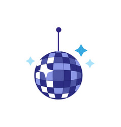 Flat cartoon disco ball with stars vector