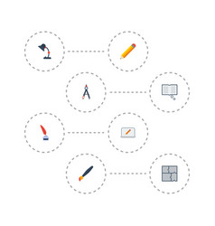 Flat icons pen scheme screen and other vector