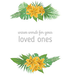 Floral bouquet design set yellow lily flowers vector