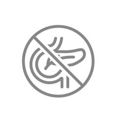 Forbidden sign with a pancreas line icon vector