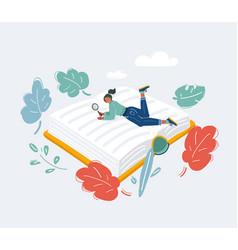 Girl read big book big book and read student vector