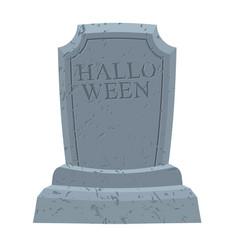 halloween gravestone in cemetery for terrible vector image