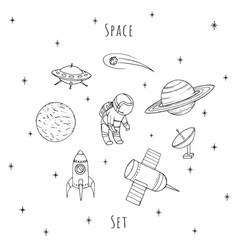 Hand drawn space set cosmonaut rocket planet vector