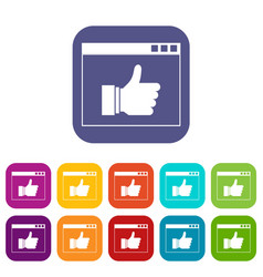 Hand with thumb up in browser icons set vector