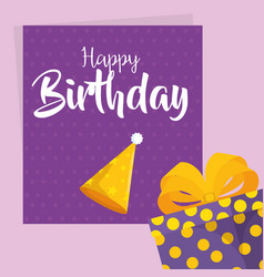 happy birthday card with party hat vector image