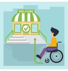 health care man in wheelchair go vector image