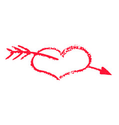 Heart and arrow st valentine day chalk clipart vector