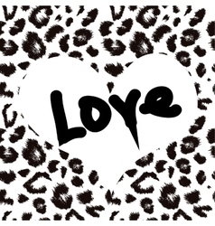 Heart with leopard print texture pattern vector