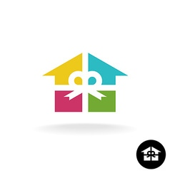 House as a present logo Colorful gift box with vector
