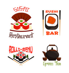 Icons for sushi bar or japanese restaurant vector