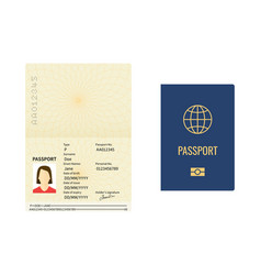 international passport template closed and open vector image