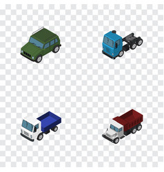 Isometric automobile set of armored truck lorry vector