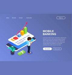 isometric mobile banking concept man performs vector image