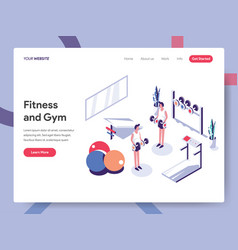 landing page template fitness and gym concept vector image